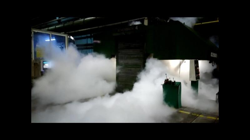 Пробный пуск углекислоты установки газового пожаротушения низкого давления на базе МИЖУ защищающей прокатный стан