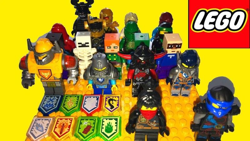 Обзор минифигурок Lego Nexo knights, Ninjago и Майнкрафт, оружие и Нексо силы.
