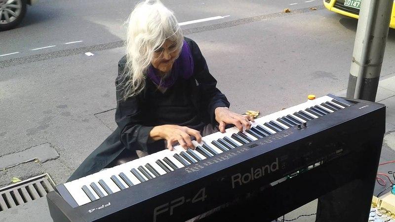 Natalie: Iconic Melbourne Piano Street Performer. [Untitled original piece.] (21/1/2014)