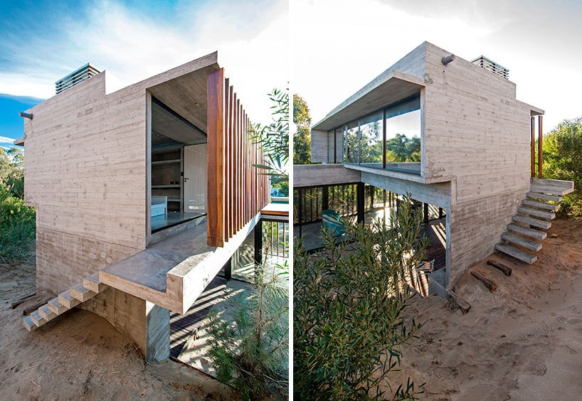 luciano kruk forms MR house of folded concrete and wooden louvers