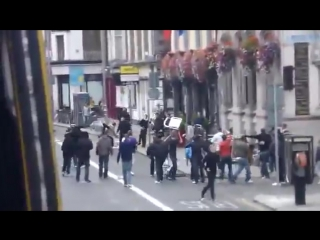 Football Hooligans Manchester United Fighting Liverpool fans