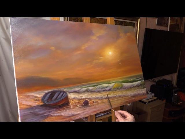 Oil painting demo Evening by the sea Вечер у моря Живопись маслом Alla Prima