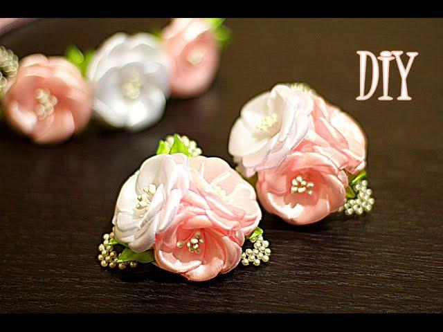 Цветы из Лент на резинках | Канзаши Мастер- Класс | KANZASHI