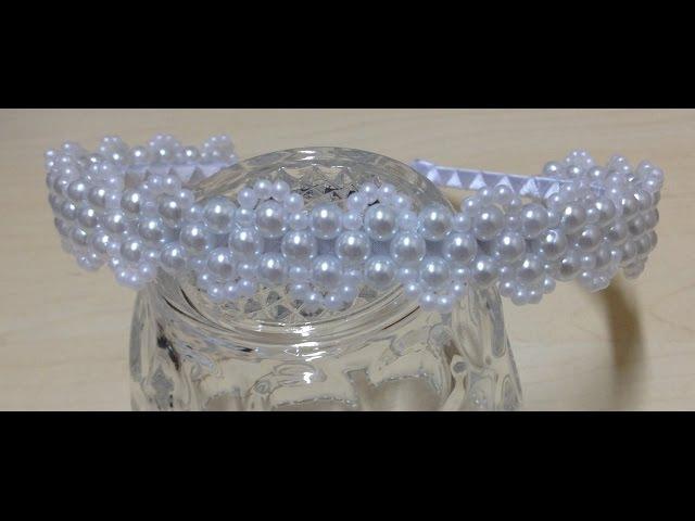 Passo a passo - Tiara de Pérolas Delicada - Tiara de noiva - Entrelaçado de pérolas em tiara 1
