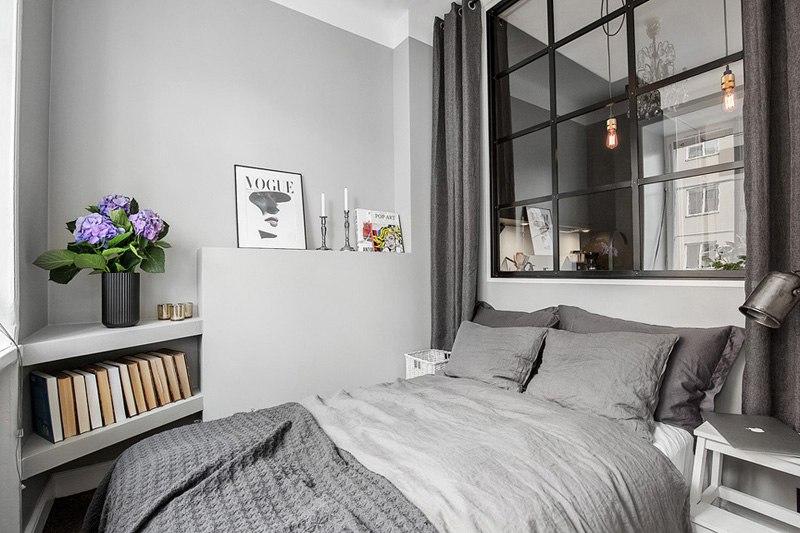 Интерьер шведской квартиры 38 м в серой цветовой гамме.