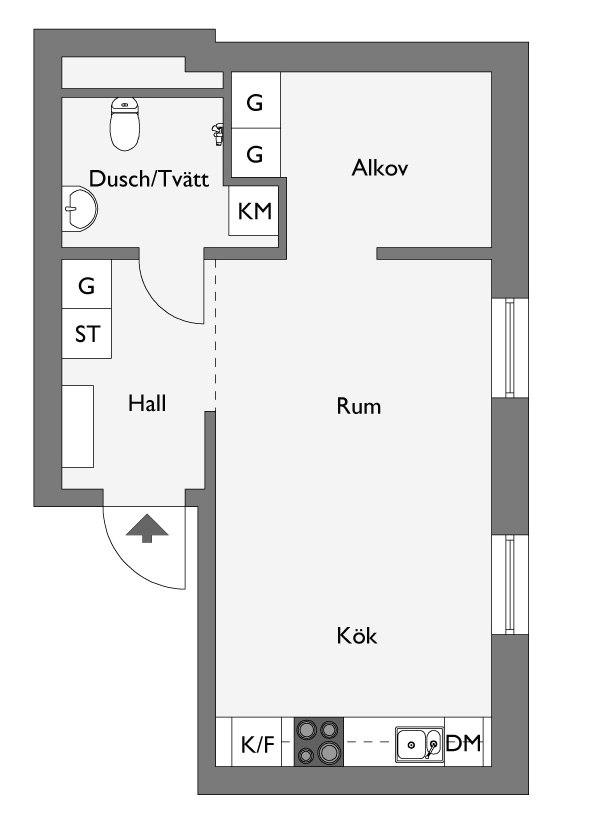 Светлый интерьер квартиры-студии 35 м с альковом.