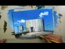 アナログでアニメ背景に挑戦!【建物屋上】_カット編集有り等倍速 _ポ12