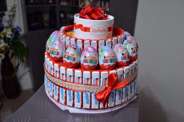 Как сделать торт из конфет киндер