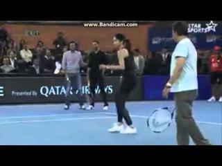 Novak Djokovic and Sania Mirza plays tennis with Deepika Padukone and Sunil Gavaskar