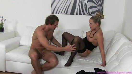 FemaleAgent E297 – Rassy Horny Blonde MILF Finishes Casting With A Mouthful Of Cum