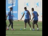 FC BARCELONA Arda Turan and Luis Suarez