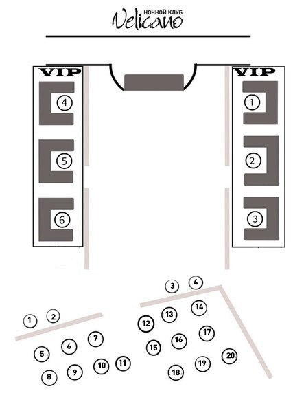 Схема рассадки VIP столы по 10