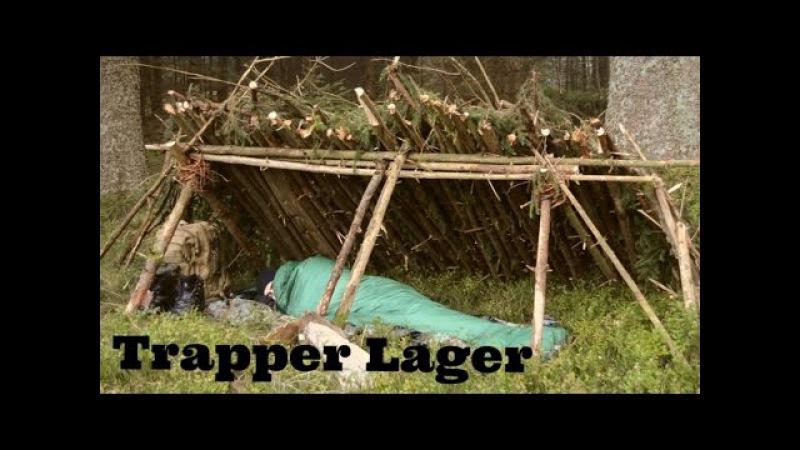 Übernachtung im Bushcraft Shelter 2 - Lagerbau, im Einklang mit der Natur, Schlaflager, Morgenstille