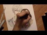 Drawing Sata Kyouya and Erika Shinohara from the anime Ookami Shoujo to Kuro Ouji (and Q+A)