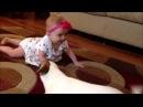Прикольное видео - Собака учит ребенка ползать