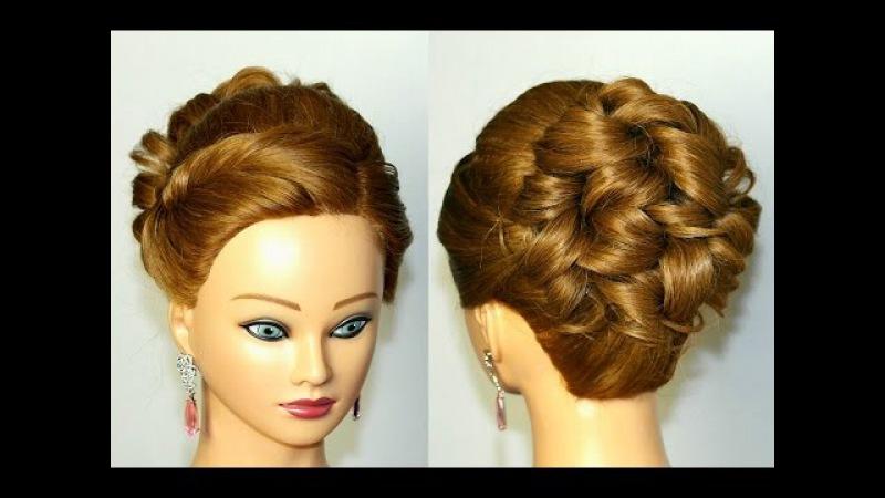 Прическа с плетением на средние и длинные волосы. Вечерняя, на выпускной