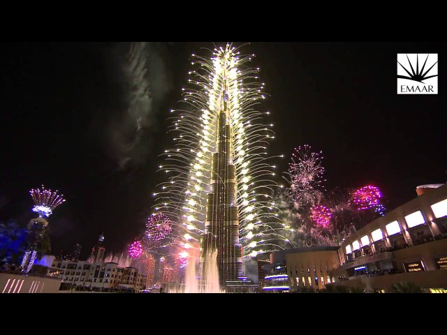 Фейерверк на башне Бурдж Халифа Дубай 2014 Новый рекорд Гиннесса
