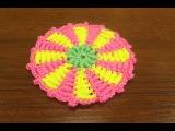 Вязание коврика. Коврик крючком. Витые столбики. Столбики крючком. (rug crochet)