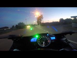 Yamaha R1 торможение с 300, камаз-невидимка, автобус.