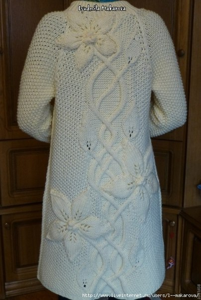схема вязания пальто белые клематисы