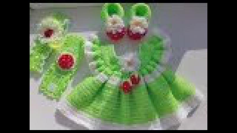 Платье, вязанное крючком для девочки 6 9 месяцев