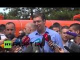 Сербия: ПМ Вусис отвечает беженцев в Белграде парк.
