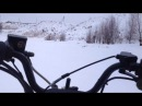 Снегоход Irbis T125. По реке, по глубокому снегу.