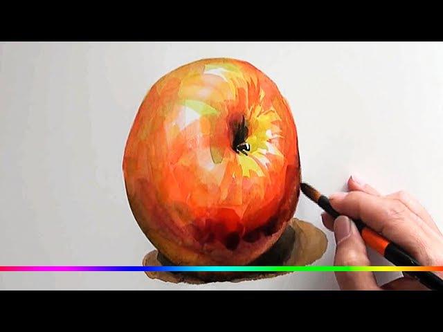 Акварель - как нарисовать Яблоко используя объемные мазки кисти