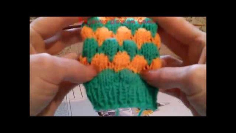 Буфы или Пупырышки Узор для вязания носков по кругу спицами