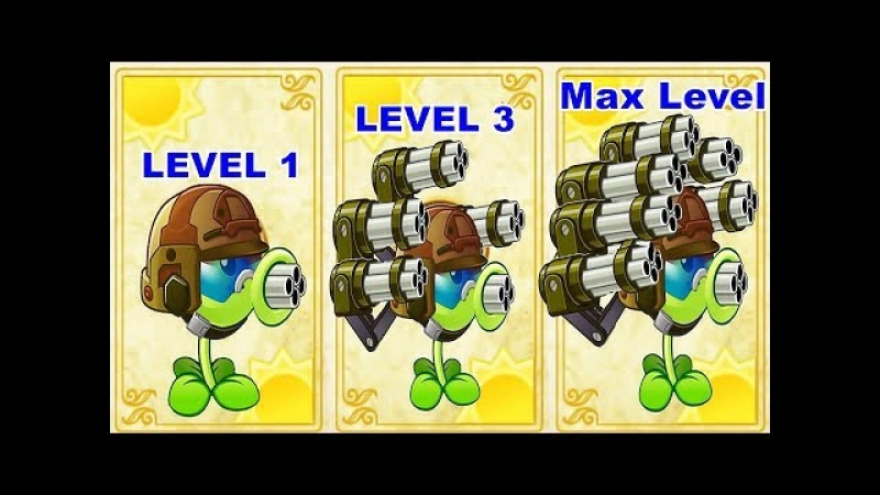 Gatling Pea Pvz 2 Level 1-3- Max Level in Plants vs. Zombies 2(chinese): Gameplay 2018