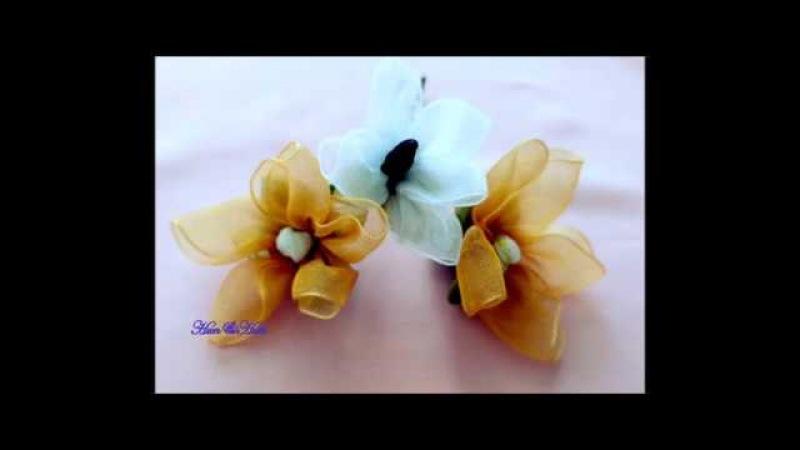 Kurdeleden sarı nergis çiçeği nasıl yapılır. Kurdele oyaları