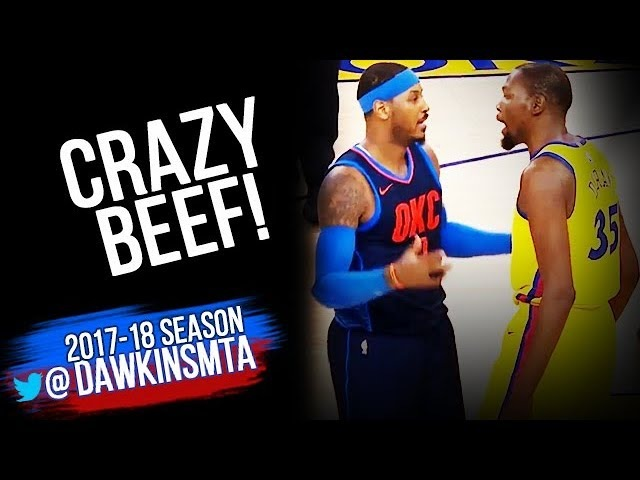 Kevin Durant vs Carmelo Anthony INTENSE Duel 2018.2.24 Golden State Warriors vs OKC Thunder!