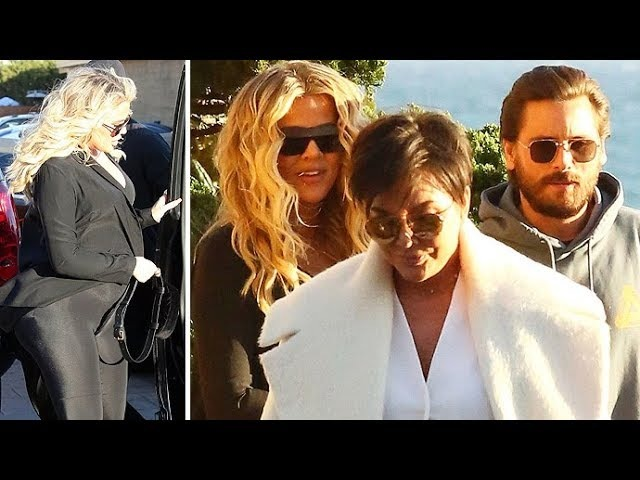 Khloe Shows Off Her MASSIVE Baby Bump At Lunch In Malibu With Kris Jenner And Scott Disick