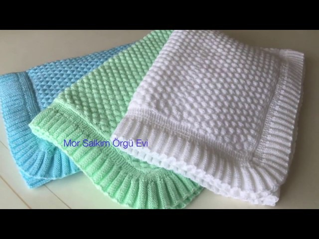 Piliseli Bordür Nasıl Yapılır ? bebek battaniyesi - battaniye kenarı - pilise örgü anlatım