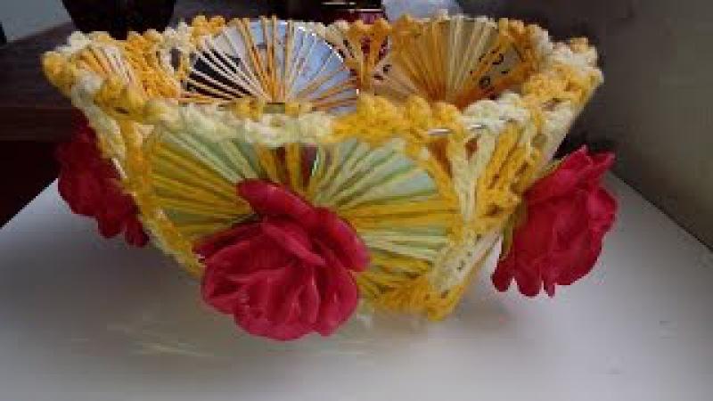 DIY fruteira de cds reciclados. com crochê e aplique de rosas de E.V.A