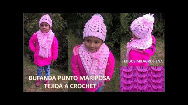 Bufanda o Chalina Punto Mariposa a Crochet paso a paso fácil de hacer