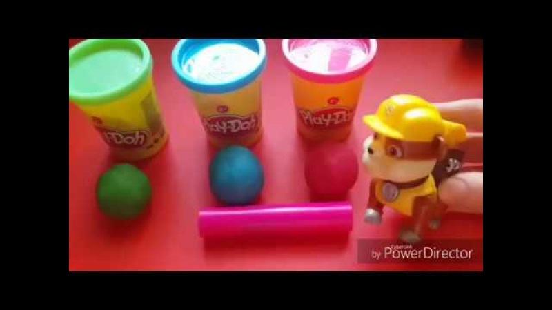 Лепим из Пластелина Плей До с Крепышем игрушка ЩЕНЯЧИЙ ПАТРУЛЬ Учим цвета Формы Видео для Детей