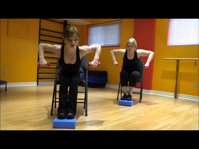 Cardio and Strength exercises on a chair 2 (for people with badinjuredweak knees or feet).