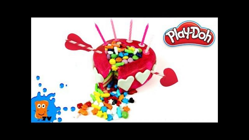Торт сердце с конфетами из пластилина Плей До/Heart cake with candy from clay Play Doh-Spongik tv