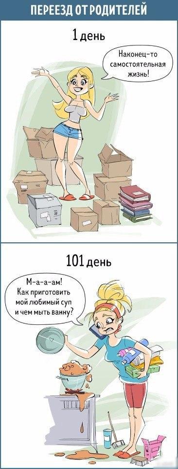 Комикс об отношении к вещам на 1 день и на 101-й день