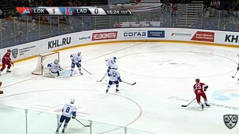 Моменты из матчей КХЛ сезона 17/18 • Гол. 1:1. Филатов Никита (Лада) точным кистевым из круга вбрасывания 16.01