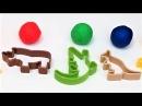 Учим цвета с пластилином плей до на английском языке для детей формочки носорог крокодил