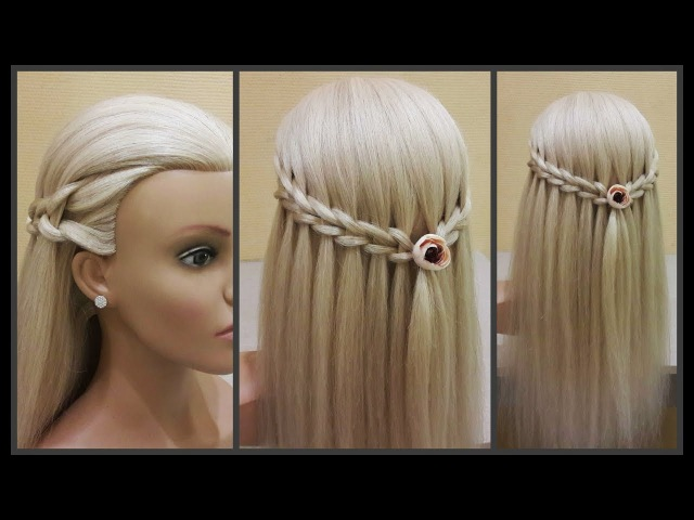 Прически.Коса водопад.Красивое плетение волос.Hairstyles.Waterfall. Beautiful hair weaving.