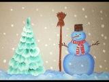 Как нарисовать елочку и снеговика плоской кистью.