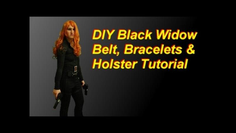 DIY Black Widow Costume Part 2 belt, holster, bracelets, gloves