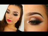 Neutral Glitter Glam &amp Smoked Out Liner Bright Lip Makeup Tutorial