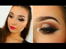 Neutral Glitter Glam Smoked Out Liner | Bright Lip Makeup Tutorial