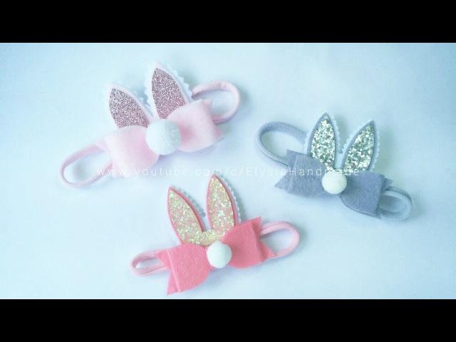 Baby Headband Ideas : Bunny Ear Headband With Bowtie Flannel | DIY by Elysia Handmade