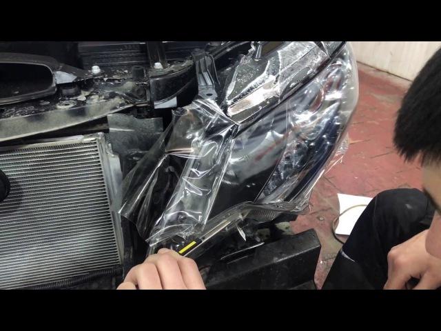 Тойота Камри оклейка бампера и фар, надежная защита автомобиля пленкой от сколо ...
