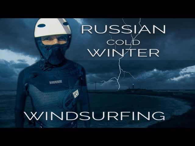 RUSSIAN COLD WINTER Windsurfing Black sea Anapa storm Gopro video SLOW MOTION Windsurfing jumps